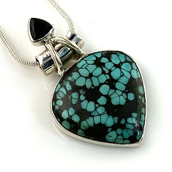 Hubei Turquoise & Black Onyx Sterling Silver Point Pendant