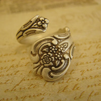 Silver Spoon Ring Matte Antiqued Silver  Style by TheCraftyStore