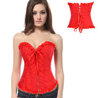 Red Jacquard Print Ruffled Zipper Tie Corset