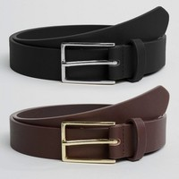 ASOS 2 Pack Faux Leather Smart Slim Belt SAVE at asos.com