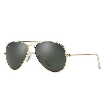 Ray Ban Aviator Arista Gold with Green G15 Lenses RB 3025 L0205