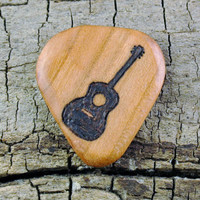 Classical Guitar Design engraved on a Wooden Guitar Pick or Other Designs Available - Wood Guitar Pick - Custom Guitar Pick - Engraved Pick