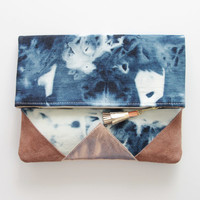 SUNSET 78 / dyed cotton & Natural leather folded clutch bag - Ready to Ship
