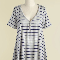 Cinema and Heard T-Shirt in Light Grey Stripes | Mod Retro Vintage Short Sleeve Shirts | ModCloth.com