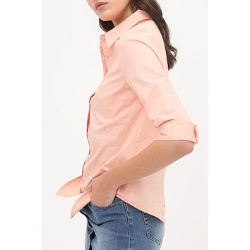 3/4 Sleeve  Scooped hem Cotton Shirt