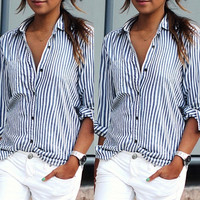 New Fashion Womens Casual Chiffon T-shirt stripe Print Blouses Long Sleeve Tops = 5618637761
