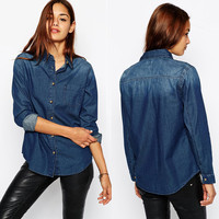 Denim Single Pocket Long Sleeve Blouse