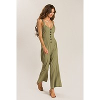Lindy Olive Button Jumpsuit