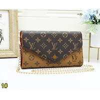 Louis Vuitton LV Fashion Women Retro Leather Metal Chain Shoulder Bag Crossbody Satchel 1#