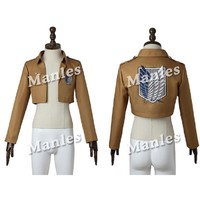 Cool Attack on Titan  Jacket no  Top Shirt Halloween Costume Cosplay Rival Ackerman Rivaille Cosplay Jacket AT_90_11