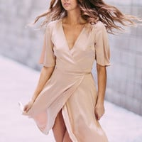 Satin Love Wrap Dress
