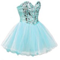 Faironly Zxs1 Mini Short Crystal Prom Cocktail Dress (M, Turquoise)