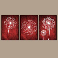 DANDELION Wall Art Prints Flower CANVAS Red Custom Colors Grunge Background Prints Red Bedroom Wall Art Bathroom Decor Dorm Set of 3