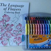 I Love You with Flowers Bundle of 2 Items: The Language of Flowers Coloring Book and Set of 36 Markers
