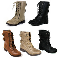 New Womens Lace Up Boot Tango Combat Fashion Boots Faux Leather Size 5-10