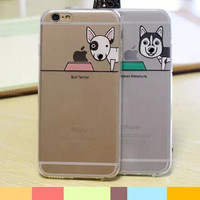 Lovely couple dog transparent phone case for iphone 5 5S SE 6 6s 6 plus 6s plus + Nice gift box 072301