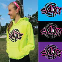 """""""SWAG"""" - Volleyball Hooded Sweatshirt by VictorySportsGraphics"""
