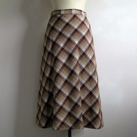 70s Gingerbread Plaid A-line Skirt Vintage 1970s Wool Blend Midi Plaid Day Skirt Medium Made in Canada