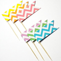12 Recycled Cupcake Picks You Pick the Color Chevron Flag on Bamboo Picks - ECO FRIENDLY - Great for Weddings - Baby Showers - Birthdays