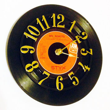 Clock, Record Clock, Vinyl Record Clock, Wall Clock, Styx Record, Recycled Record, Upcycle, Battery & Wall Hanger included, Item #52