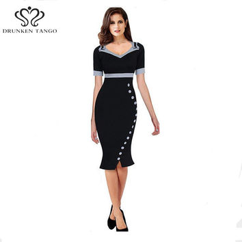 2016 Womens Elegant Mermaid Bowknot V Neck Slit Wear to Work Office Business Career Slimming Stretch Bodycon Dress B031
