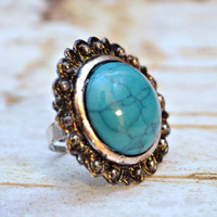 Turquoise ring sunflower design gold and teal ring blue gemstone ring adjustable band ring boho healing stone jewelry