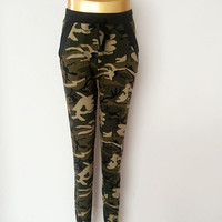 2016 New arrival Women sweatpant Camouflage Jogger Pant  Harem Loose Long Pant With pocket Drawstring American Original 5020