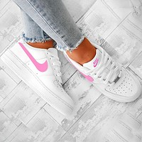 Nike Air Froce one 1 Classic Trending Perfect Breathable Shoes Sneakers Pink Hook