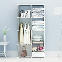 Portable Clothes Closet Wardrobe by Cosyhome-Freestanding Storage Organizer with doors , large space and sturdy construction. White-8 cube