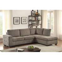 Homelegance Calby Lane 2Pc Set: Sectional In Grey Chenille