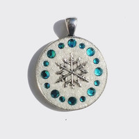Teal, Blue Swarovski Crystals and White Crystal Clay with Metal Christmas Snowflake Pendant, Necklace