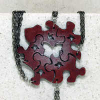 Best friend necklaces Set of 5 puzzle piece necklaces Magenta and pearl with bird cut outs