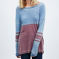 BDG Panel Long Sleeve Tee in Blue and Red - Urban Outfitters