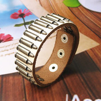 Rock  Punk Style White Leather with bullet Pendant  Women Leather Cuff Bracelet   SL0021-W