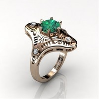 Mexican Art Deco 14K Rose Gold 1.0 Ct Emerald Diamond Engagement Ring Wedding Ring R351-14KRGDEM