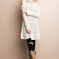 Eleanor Open-Shoulder Sweater Dress
