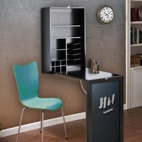 All Purpose Fold Down Table Desk Black Table/Wall Cabinet with Chalkboard Collapsible Fold Down