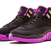 Nike Girls Air Jordan 12 Retro GG Black/Metallic Gold Star-Hyper Violet Suede