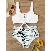 Rib Knot Top With Tropical High Waist Bikini