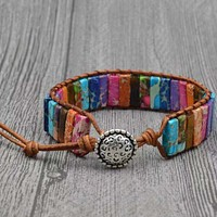Thai Inspired Rainbow Marble Leather Pull Bracelet