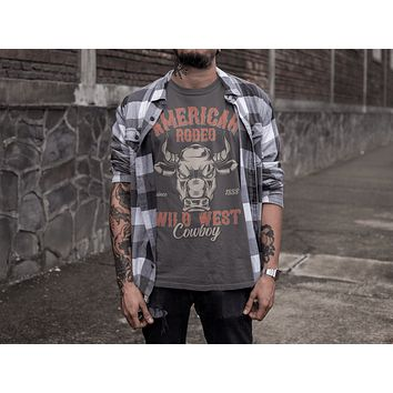 Men's Vintage Rodeo T Shirt American Rodeo Cowboy Shirts Wild West Bull Graphic Tee Western TShirt Vintage Shirt
