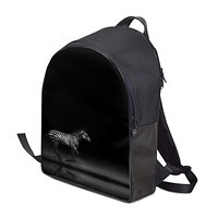 Zebra Running at Night Backpack by The Photo Access