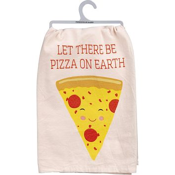 """Let There Be Pizza On Earth Dish Cloth Towel   Novelty Hilarious Tea Towel   Cute Kitchen Hand Towel   28"""" Square"""