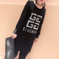 """""""Givenchy"""" Large Size Women Simple Fashion Diamond Letter Pattern Bodycon Long Sleeve Middle Long Section T-shirt Mini Dress"""