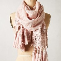 Pommed Crochet Scarf by Anthropologie Pink One Size Scarves
