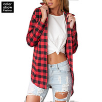 Puls Size Flannel Women Long Sleeved Flannel Shirt Women Black And Red Ladies Tops Chemis Cotton Plaid Shirt Women Tops 4XL 5XL