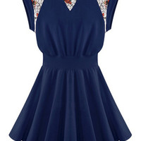 ROMWE Lace Floral Pleated Navy Dress
