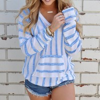 Blue Casual Striped Hooded Sweater Sweater