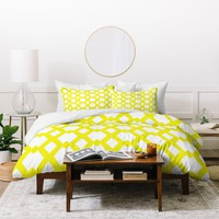 Lisa Argyropoulos Daffy Lattice Lemon Duvet Cover