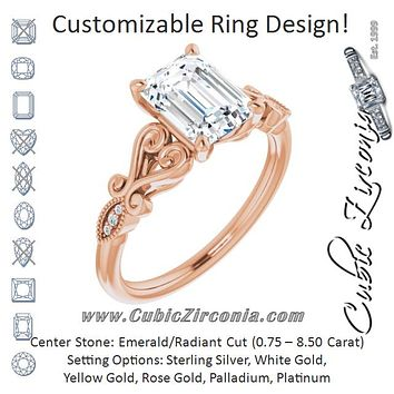 Cubic Zirconia Engagement Ring- The Annika (Customizable 7-stone Design with Radiant Cut Center Plus Sculptural Band and Filigree)